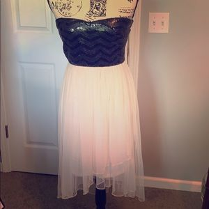 Maurices black and light pink strapless dress